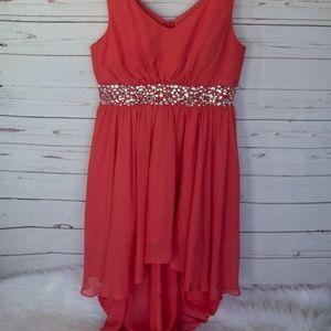 Coral high low beaded waist dress